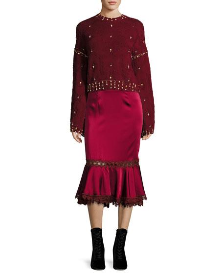 Metador Embellished Crewneck Bell-Sleeve Wool Sweater