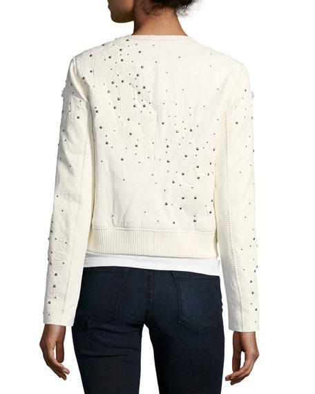 Glenna Studded Flower Applique Leather Jacket