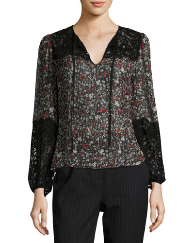 Long-Sleeve Floral-Print Top w/ Lace Inserts