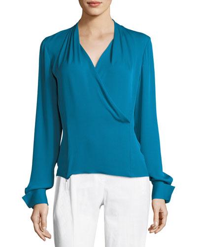 Shelly Long-Sleeve Surplice Silk Blouse