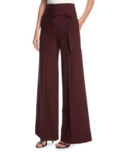 High-Waist Belted Wide-Leg Pants