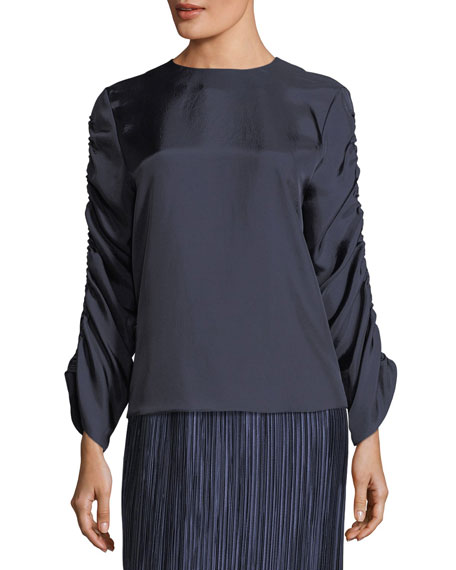 Mendini Shirred-Sleeves Satin Twill Top