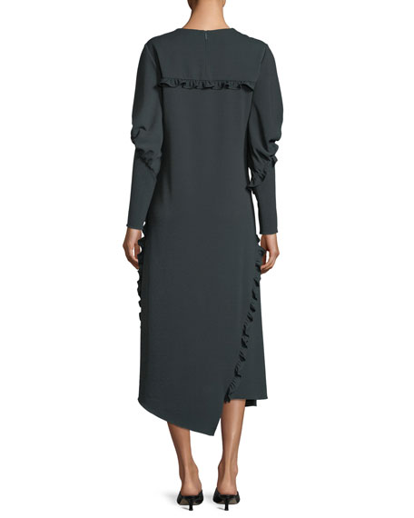 Crepe Knit Midi Dress w/ Ruffled Trim