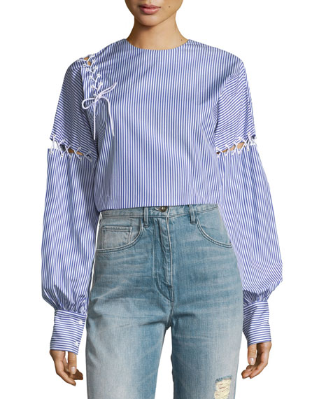 Crewneck Long-Sleeve Striped Cotton Top with Lacing Details