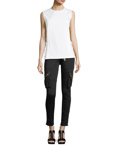 Military-Inspired Studded Skinny Stretch-Cotton Pants