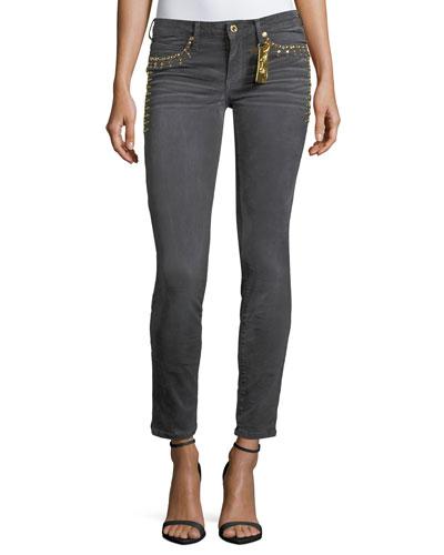Marilyn Low-Rise Skinny Jeans w/ Studs
