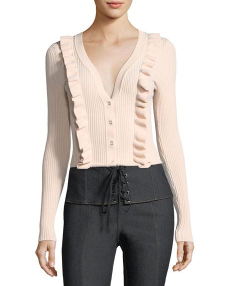 Noya V-Neck Button-Front Ribbed Cardigan