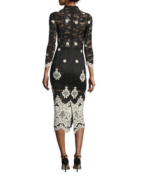 Helina Mock-Neck Lace Midi Dress