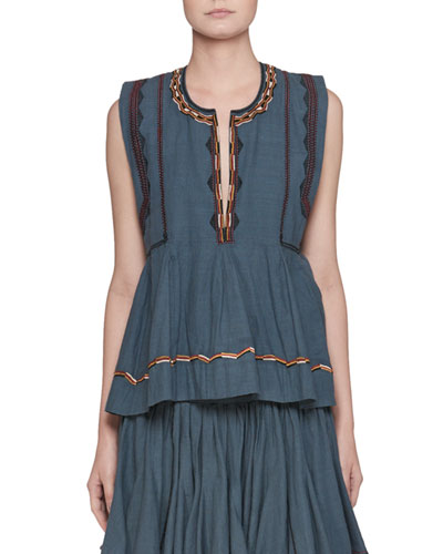 Barney Split-Neck Sleeveless Chambray Blouse with Embroidery