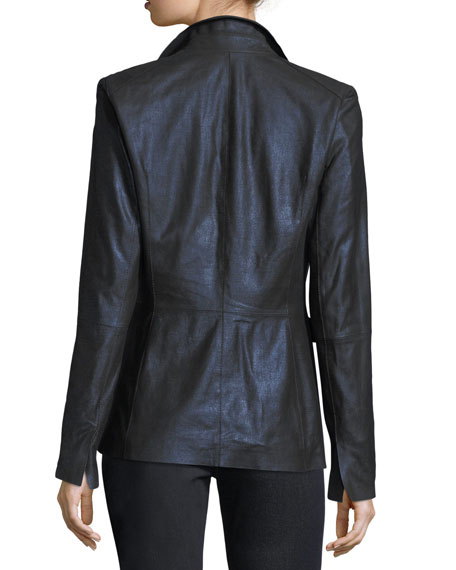 Lyndon Metallic Leather Blazer