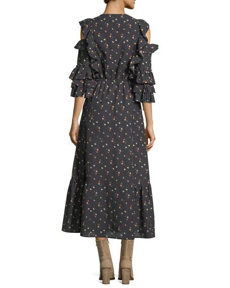 Ruffle Floral Cold-Shoulder Midi Dress