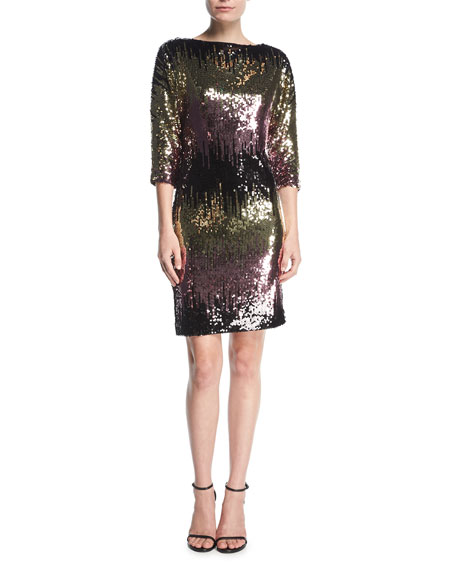 Kimberly Ombre Sequin Cowl-Back Mini Cocktail Dress