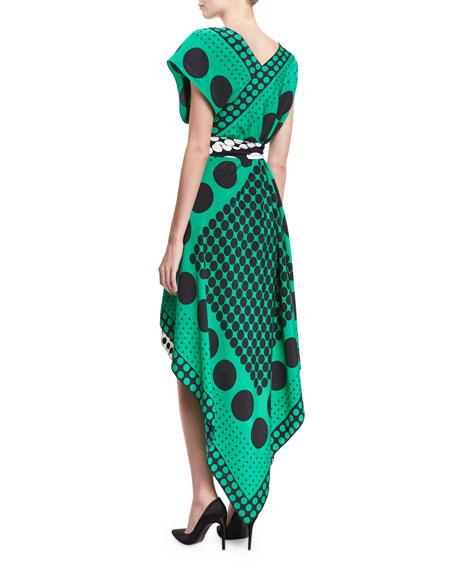 Dot-Print Asymmetric Cap-Sleeve Scarf Dress