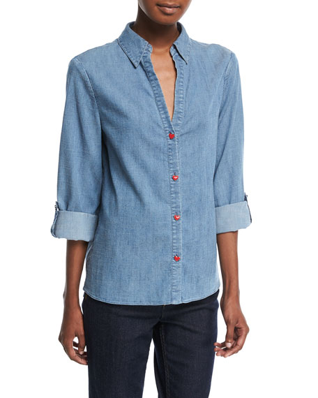Elosie Button-Front Denim Shirt w/ Graphic Message