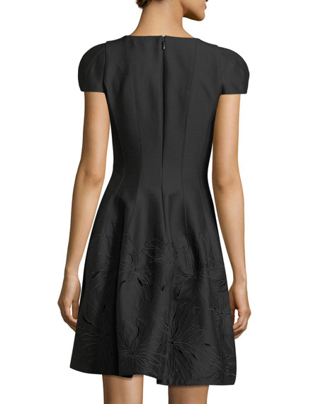 Notched-Neck Embroidered Cocktail Dress