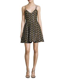 Marilla Damask Embroidered V-Neck Fit & Flare Dress