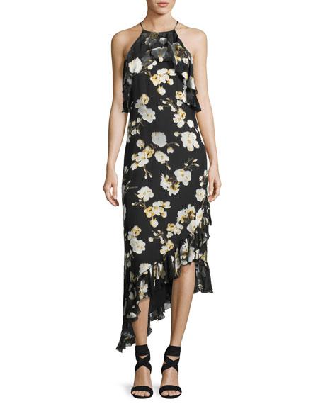 Fabiola Boat-Neck Fitted Velvet-Lace Dress
