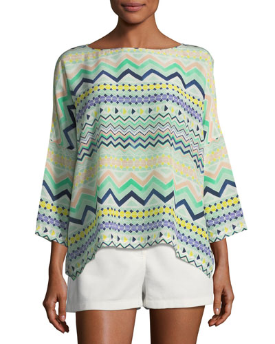 3/4-Sleeve Zigzag-Print Silk Top