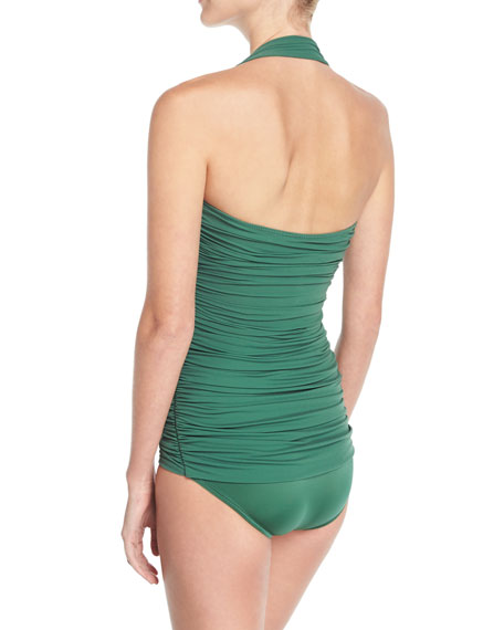 Bill Mio Solid Shirred One-Piece Swimsuit