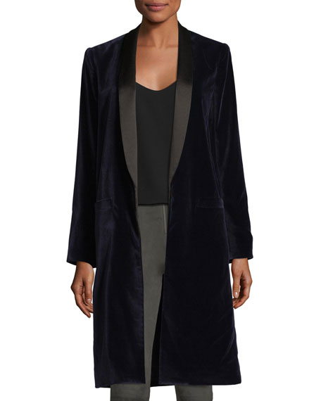 Kylie Long Velvet Easy Shawl-Collar Jacket