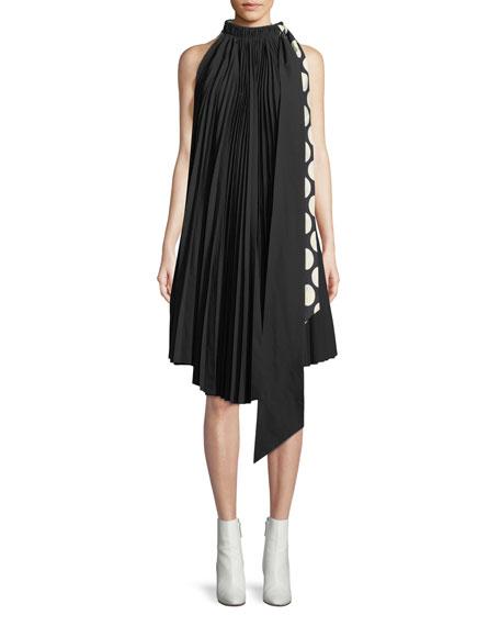 Reversible Pleated Tie-Neck Shift Dress