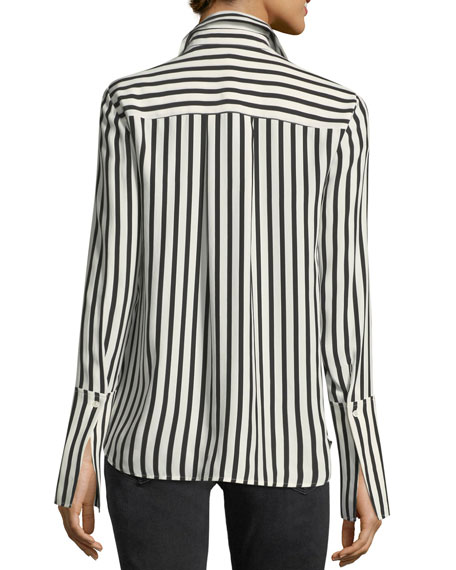 Long-Sleeve Striped Silk Pajama Blouse