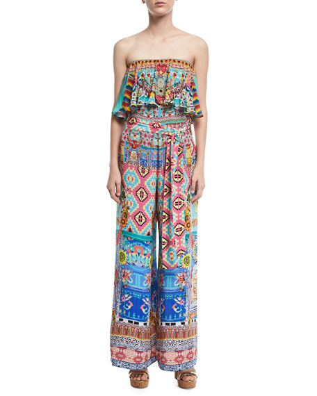 Strapless Wide-Leg Printed Jumpsuit