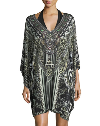 Bat-Sleeve Printed Caftan Coverup, One Size