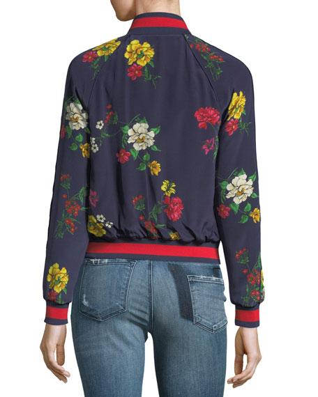 Avariella Floral-Print Silk Bomber Jacket