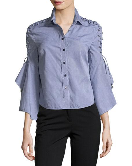 Button-Front Gingham Poplin Shirt w/ Lace-Up Trim
