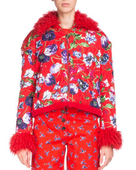 La Collection Memento N°1 Faux Fur-Trim Floral-Print Jacket