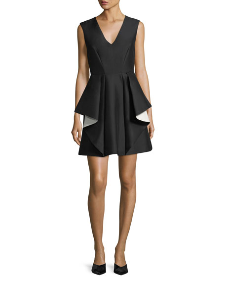 Contrast Ruffle Mini Cocktail Dress