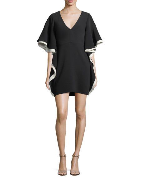 Colorblocked V-Neck A-line Cocktail Dress w/