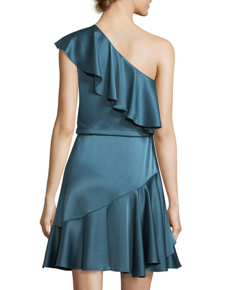 One-Shoulder Ruffled Satin Cocktail Dress