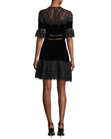 Short-Sleeve Jewel Neck Velvet & Lace Dress