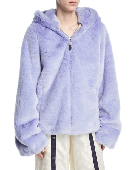 Faux-Fur Zip-Front Hooded Oversized Jacket