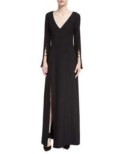 Paula V-Neck High-Slit Evening Gown