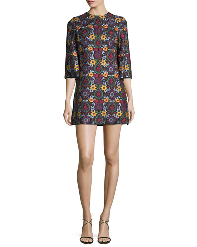 Coley Crewneck Bell-Sleeve Embroidered Dress