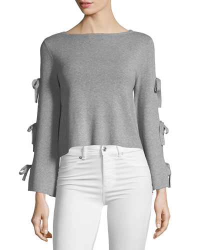Tied-Together Flare-Sleeve Pullover Top