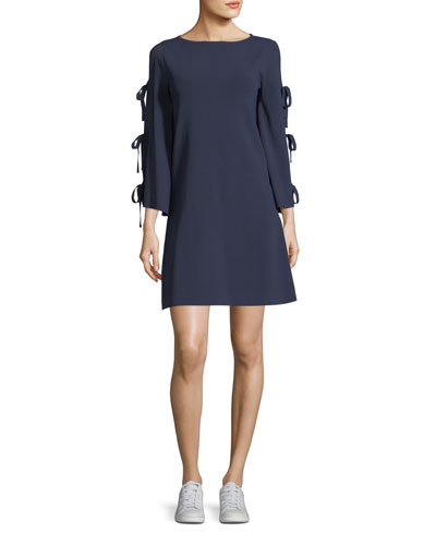 Tied-Together Flare-Sleeve Dress