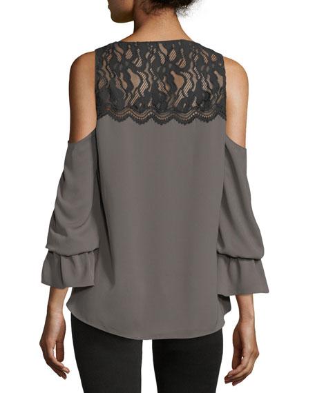 Abigail V-Neck Cold-Shoulder Georgette Top w/ Lace