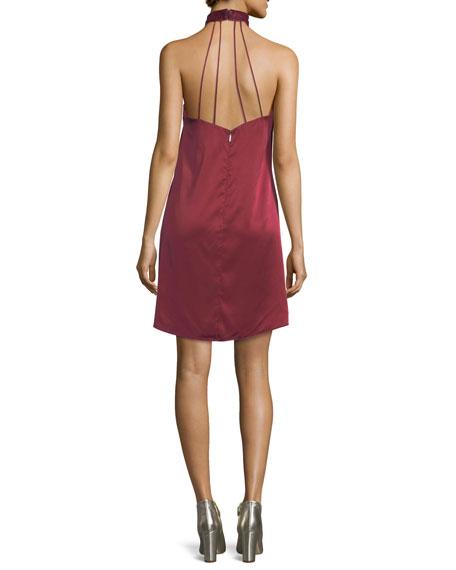 Georgica Beaded Fringe Halter Cocktail Dress