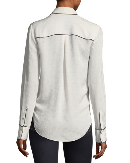 Worth Surplice Long-Sleeve Silk Blouse
