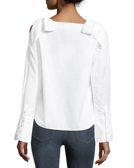 Round-Neck Bow-Shoulder Cotton Blouse