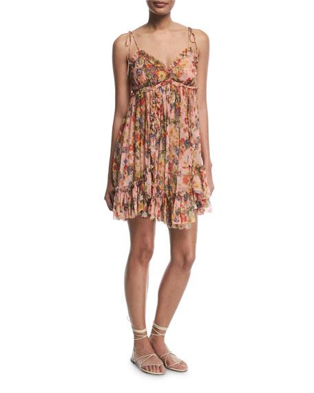 Lovelorn Floral-Print Sleeveless Mini Dress
