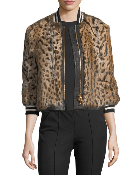5633bb0c319cd Veronica Beard Etta Leopard-Print Fur Bomber Jacket