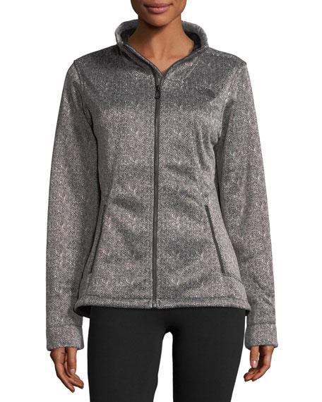 Apex Chromium Zip-Front Herringbone-Print Thermal Jacket