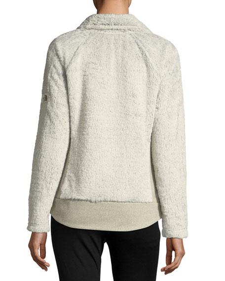 Fuzzy Fleece Zip-Front Long-Sleeve Jacket, Ivory