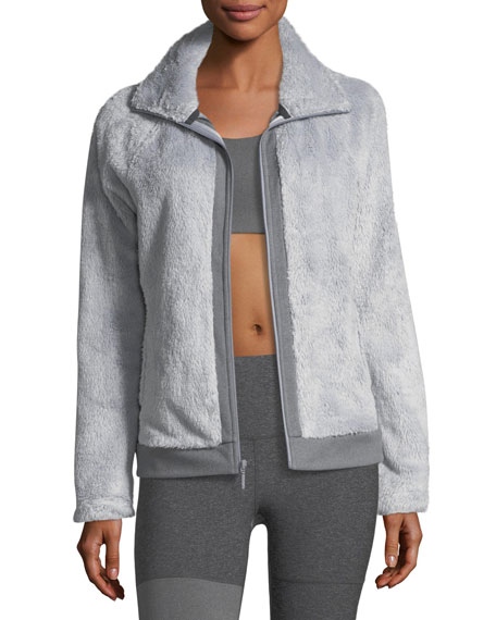 The North Face Fuzzy Fleece Zip Front Long Sleeve Jacket Gray