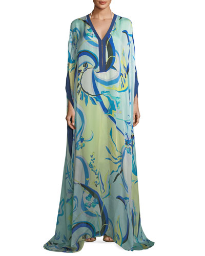 Long-Sleeve Silk Printed Long Kaftan, One Size